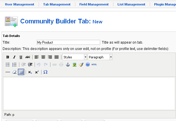 Tab Display community builder