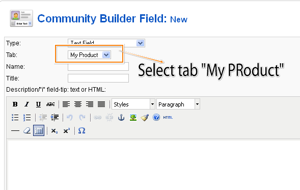 Tab selection community builder