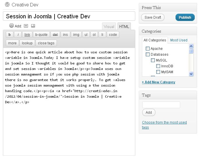 to add Text in wordpress