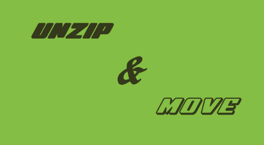 unzip file and move to destination folder in php